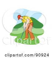 Royalty Free RF Clipart Illustration Of A Golfing Man Ready To Swing by Prawny