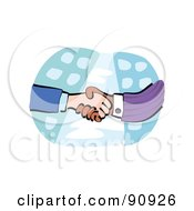 Royalty Free RF Clipart Illustration Of A Diverse Handshake Over City Buildings by Prawny