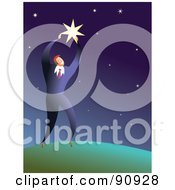 Royalty Free RF Clipart Illustration Of A Businessman Reaching For A Big Star In The Sky by Prawny