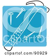 Royalty Free RF Clipart Illustration Of A Blue Hammer And Nails Tool App Icon by Rosie Piter
