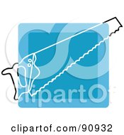 Royalty Free RF Clipart Illustration Of A Blue Hand Saw App Icon