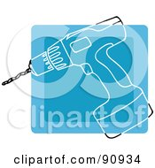 Royalty Free RF Clipart Illustration Of A Blue Power Drill App Icon