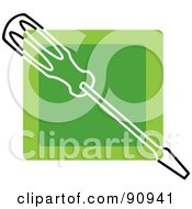 Royalty Free RF Clipart Illustration Of A Green Screwdriver App Icon