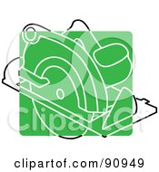 Royalty Free RF Clipart Illustration Of A Green Circular Saw App Icon