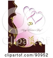 Royalty Free RF Clipart Illustration Of A Brown And Pink Happy Valentines Day Greeting With Rings Hearts And Gold Vines