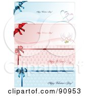Royalty Free RF Clipart Illustration Of A Digital Collage Of Happy Valentines Day Greeting Banners With Hearts Doves Bows And Rings