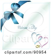 Royalty Free RF Clipart Illustration Of A Blue Happy Valentines Day Greeting With Rings Hearts And A Blue Bow