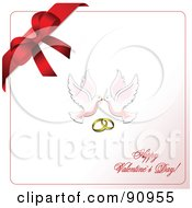 Royalty Free RF Clipart Illustration Of A Happy Valentines Day Greeting With Doves Rings And A Bow