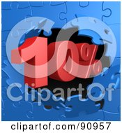 Royalty Free RF Clipart Illustration Of A 10 Percent Off Discount Breaking Through A Blue Puzzle Wall