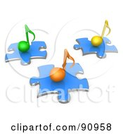 Royalty Free RF Clipart Illustration Of 3d Green Orange And Yellow Music Notes On Blue Puzzle Pieces