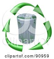 3d Green Arrows Circling A Tin Trash Can