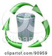 Royalty Free RF Clipart Illustration Of 3d Green Arrows Circling A Tin Trash Can