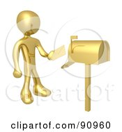 Royalty Free RF Clipart Illustration Of A 3d Golden Person Putting Mail In A Mailbox