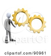 3d White Businessman Pointing To Yellow Gears During A Training Course