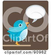 Royalty Free RF Clipart Illustration Of A Blue Bird With A Word Balloon Over Brown by Qiun