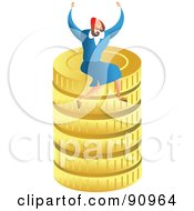 Royalty Free RF Clipart Illustration Of A Successful Businesswoman Sitting On Gold Coins by Prawny