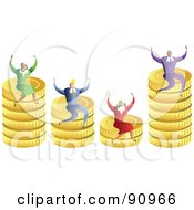 Royalty Free RF Clipart Illustration Of A Successful Business Team Sitting On Stacks Of Coins