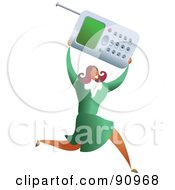 Royalty Free RF Clipart Illustration Of A Successful Businesswoman Carrying A Cell Phone