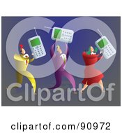 Royalty Free RF Clipart Illustration Of A Successful Business Team Carrying Cell Phones