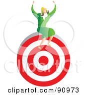 Royalty Free RF Clipart Illustration Of A Successful Businesswoman Sitting On A Target by Prawny