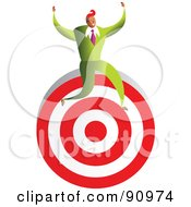 Royalty Free RF Clipart Illustration Of A Successful Businessman Sitting On A Target