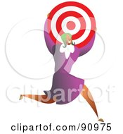 Royalty Free RF Clipart Illustration Of A Successful Businesswoman Carrying A Target