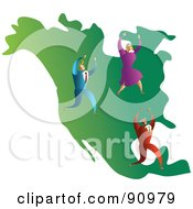 Royalty Free RF Clipart Illustration Of A Successful Business Team On A Map Of North America by Prawny