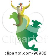 Royalty Free RF Clipart Illustration Of A Successful Businessman Sitting On A Map Of North America by Prawny