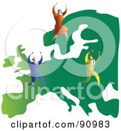 Royalty Free RF Clipart Illustration Of A Successful Business Team On A Map Of Europe
