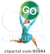 Royalty Free RF Clipart Illustration Of A Successful Businesswoman Carrying A Go Sign