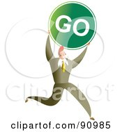 Royalty Free RF Clipart Illustration Of A Successful Businessman Carrying A Go Sign