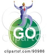Royalty Free RF Clipart Illustration Of A Successful Businessman Sitting On A Go Sign