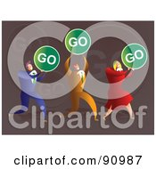 Royalty Free RF Clipart Illustration Of A Successful Business Team Carrying Go Signs