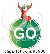 Royalty Free RF Clipart Illustration Of A Successful Businesswoman Sitting On A Go Sign