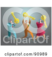 Royalty Free RF Clipart Illustration Of A Successful Businsess Team Carrying Keys