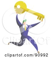 Royalty Free RF Clipart Illustration Of A Successful Businessman Carrying A Key by Prawny