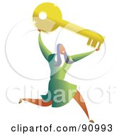 Royalty Free RF Clipart Illustration Of A Successful Businesswoman Carrying A Key by Prawny
