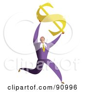 Royalty Free RF Clipart Illustration Of A Successful Businessman Holding Up A Dollar Symbol
