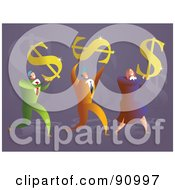 Royalty Free RF Clipart Illustration Of A Successful Business Team Carrying Dollar Symbols