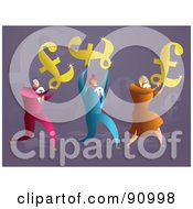Royalty Free RF Clipart Illustration Of A Successful Business Team Carrying Pound Symbols