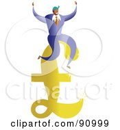 Royalty Free RF Clipart Illustration Of A Successful Businessman Sitting On A Pound Symbol by Prawny