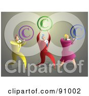 Royalty Free RF Clipart Illustration Of A Business Team Carrying Copyright Symbols