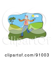 Royalty Free RF Clipart Illustration Of A Businessman Running And Flapping His Arms In A Hilly Landscape