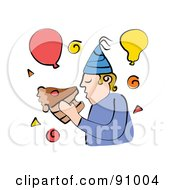 Royalty Free RF Clipart Illustration Of A Man Eating A Slice Of Chocolate Birthday Cake With His Bare Hands by Prawny