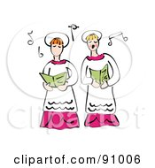 Royalty Free RF Clipart Illustration Of Two Church Ladies Singing In The Choir by Prawny