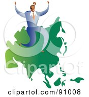Royalty Free RF Clipart Illustration Of A Successful Businessman Sitting On A Map Of Asia