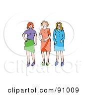 Royalty Free RF Clipart Illustration Of Three Sassy Girlfriends by Prawny