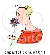 Royalty Free RF Clipart Illustration Of A Blond Woman Smelling A Purple Flower