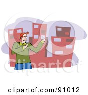 Royalty Free RF Clipart Illustration Of A City Bloke Gesturing To Buildings by Prawny