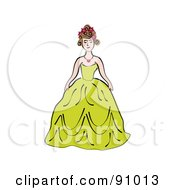 Royalty Free RF Clipart Illustration Of A Pretty Woman Wearing A Green Ball Gow